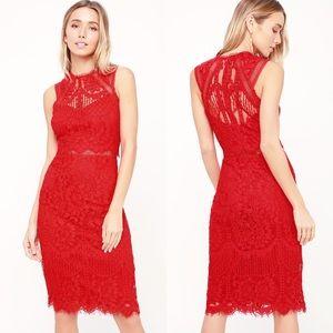 Lulus Sweetness Red Lace Midi Dress Size Medium
